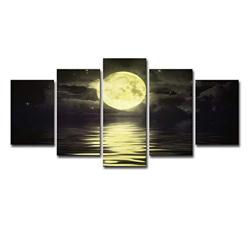 BIOAOUA Wall Canvas For Living Room5 High-Definition Print Canvas Prints, Moonlight On The Sea, Landscape Home Decoration Paintings, Art Graphic Images-B-With Frame_200X100cm