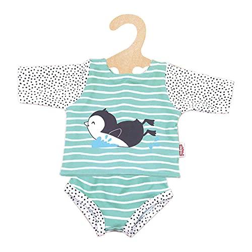 Heless 1118 - Schwimm-Outfit für Puppen im Pinguin Pünktchen Design, 2 teilig mit Ober- und Unterteil, Größe 28 - 35 cm