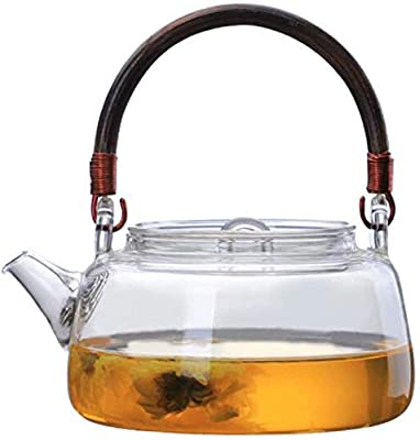 IwaiLoft Stovetop Safe Glass Teapot with Removable Infuser Fine Borosilicate Tea Pot perfect for Fruit Flowering Tea Canister Premium Quality Tea Kettle Gift IW-G086 (17OZ, Vine Handle)