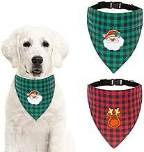 SCENEREAL Christmas Dog Plaid Bandana Collar 2 Pack Triangle Dog Scarf Santa Claus Elk for Puppy
