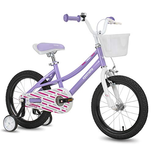 "cycmoto Nancy 14"" Kids Bike with Basket, Hand Brake & Training Wheels for 3 4 5 Years Girls, Toddler Bicycle Purple"