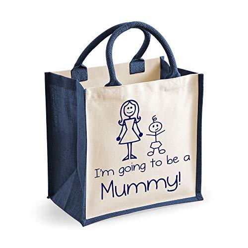 Moyen sac de jute I'm Going to be a maman Bleu marin sac Fête des mères Nouvelle Maman Anniversaire Cadeau Noël