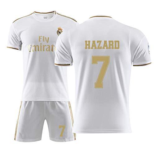 Fußballanzug, Real Madrid Trikot, 7. Hazard Fußball Sportbekleidung,Fußballuniform, Trainingsuniform, Fußball Jungen T-Shirt
