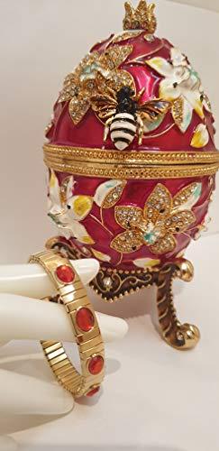 Caja de regalo para el día de San Valentín de granada con regalos de amor y pulsera hecha a mano para amor y mamá, regalos de amor para ella 450 diamantes de Swarovski, caja de joyería para mujer