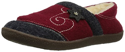Acorn Women's Boiled Wool Edelweiss Slipper Moccasin, Red, 7 M US