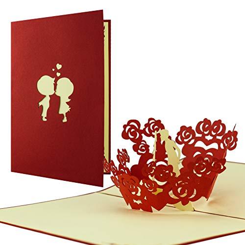 Carte Saint Valentin avec amoureux avec couple pop up en 3D, carte parfaite pour les anniversaires, anniversaires de mariage, pour adresser ses vœux, ses félicitations ou pour offrir un bon cadeau.