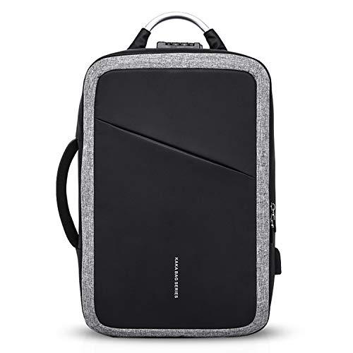 FANDARE Fashion Rucksack Herren Business Laptop USB-Ladeanschluss Tasche Commuter Outdoor Reisen Anti-Theft Handtasche Wasserdicht Polyester Schwarz Grau