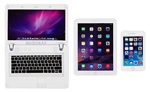 ebuddy 3 PCS Dollhouse Mini Metal Laptop Tablet Cell Phone for 1/6...
