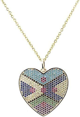 BACKZY MXJP Collar Collar En Forma De Corazón Colgante De Circonio De Color Cobre Microconjunto Circón Galvanoplastia Collar De Amor Ropa Creativa Boutique Joyas para Mujeres Hombres Regalo Collar