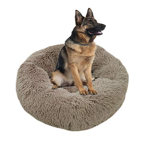 RTYUIIO Cama para Perros Deluxe Fluffy Pet Bed Cama Redonda u Ovalada Donut Cama Nido para Mascotas Suave y Cálida,XXL:100 * 100CM