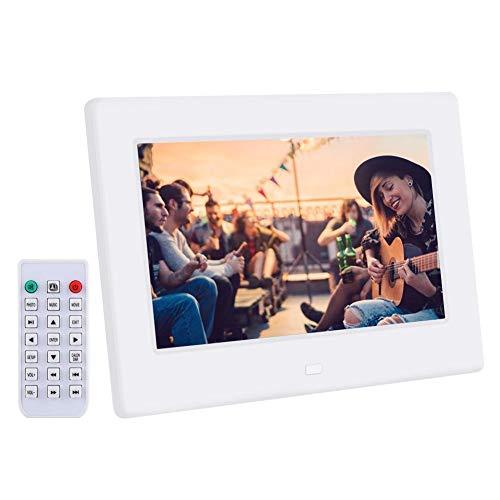 Hakeeta 7-Zoll-Digitalfotorahmen, 1024 * 600 HD LED-Bildschirmanzeige Foto/Bild/Musik/Video/Kalender.Ultradünner Bilderrahmen zur Wandmontage(White)