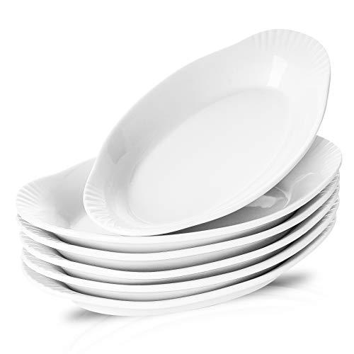 NJCharms Ceramic Au Gratin Baking Dishes, Gratin Dishes Oval Baking Pans White Porcelain Kitchen Bakeware/Baker, 9-Inch, Set of 6