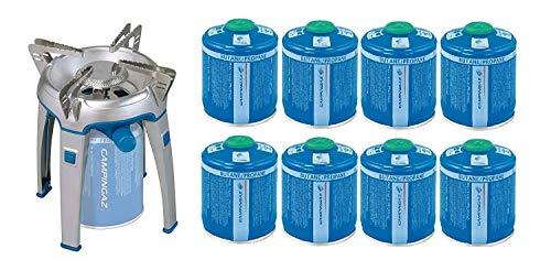 ALTIGASI Bivouac Réchaud à gaz Campingaz, puissance 2600 W, avec sac de transport, système cartouche amovible + 8 cartouches à gaz CV300 de 240 g