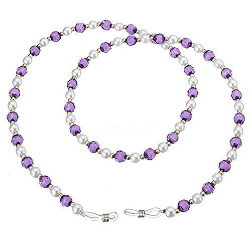 Preisvergleich Produktbild Sonnenbrille Perlen Hals Lanyard Cord Kabel Kette für Brille Sonnenbrille Lila Mode Kristall Perlen