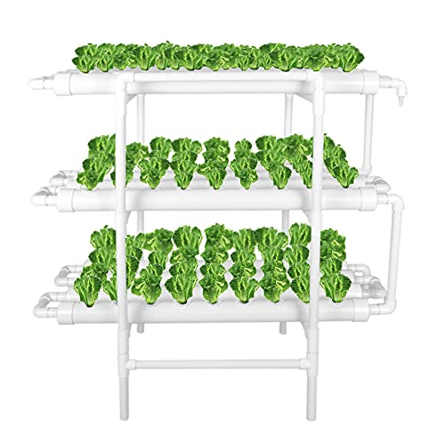 LAPOND Hydroponic Grow Kit, Hydroponics Growing System 3 Layers 108 Plant Sites Vegetable Tool Grow Kit Hydroponic Planting Equipment with Water Pump, Pump Timer for Leafy Vegetables