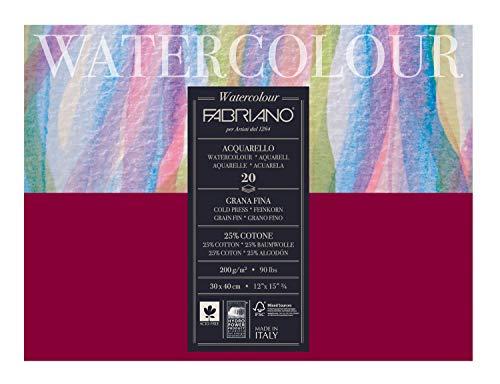Honsell 72613040 - Fabriano Watercolour Aquarellkarton, 200 g/m², 30 x 40 cm, 20 Blatt, Block 4 fach geleimt, naturweiß, Feinkorn, säurefrei, samtartige Oberfläche