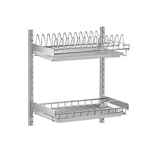 RJJX Home Estante de acero inoxidable para fregadero de cocina, para colgar platos, bandeja de almacenamiento