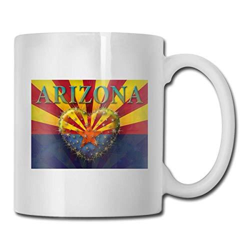 Taza con la bandera de Arizona, taza de café para bebidas calientes, taza de gres, taza de café de cerámica, taza de té de 11 onzas, divertida taza de regalo para té y café