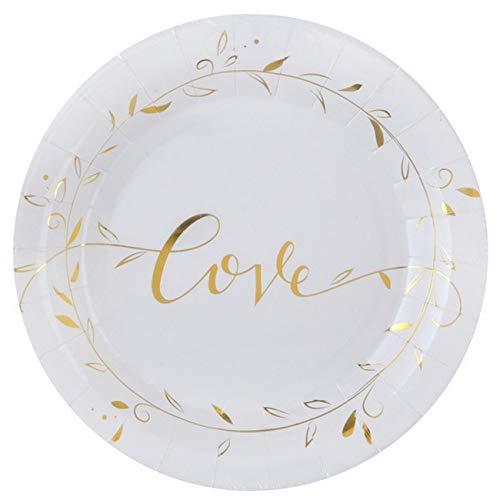 Chal - 10 Assiettes en carton Just Married blanc et or métallisé