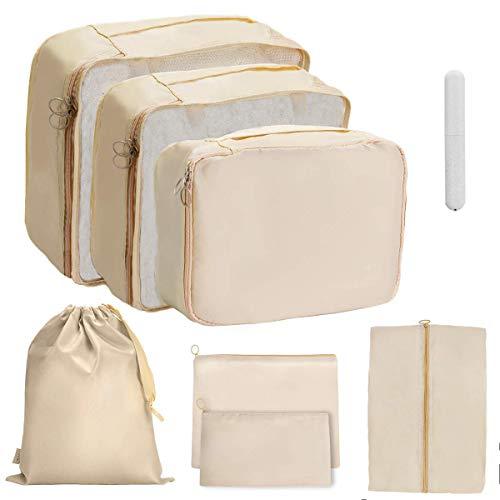 OrgaWise Packing Cubes 8 Borsa Essentials in Poliestere da viaggio Custodia in poliestere impermeabile Contenitori da viaggio Bagagli con custodia per spazzolino extra (8-pcs-beige)