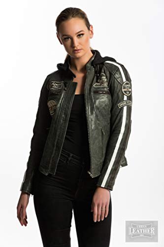 Chaqueta Moto Mujer de Cuero Urban Leather '58 LADIES'   Chaqueta Cuero Mujer   Cazadora Moto de Piel de Cordero   Armadura Removible para Espalda, Hombros y Codos Aprobada por la CE  Breaker   2XL