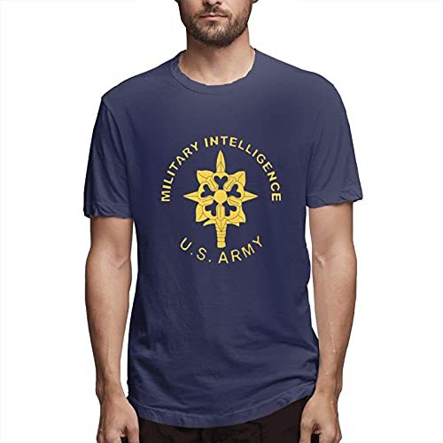 Military Intelligence Us Army Logo Men's Short Sleeve 100% Cotton Tshirt Classic Logo Series Graphic