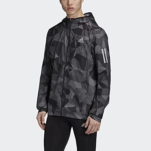 adidas Men's Standard Own The Run Hooded Jacket, Metal Grey/Grey/Black, Medium