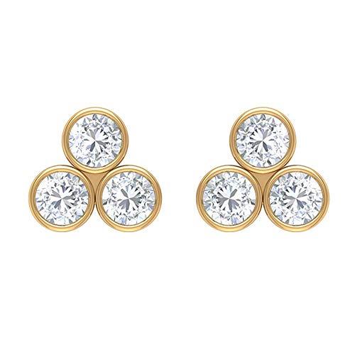 Juego de aretes de diamantes de 3 piedras de 1/2 CT para mujer (calidad AAA), rosca trasera amarillo