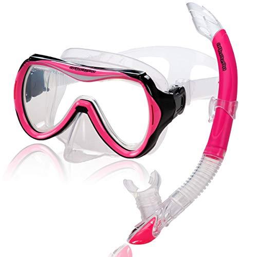 AQUAZON Capri Hochwertiges Schnorchelset, Tauchset, Schwimmset, Schnorchelbrille mit Tempered Glas, Schnorchel mit Semi Dry top für Kinder, Jugendliche Von 7-14 Jahren, Farbe:pink
