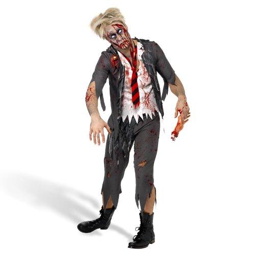 Zombie Kostüm Herren High School Boy Look für Halloween u Karneval 3-teilig Hose, Jacke mit Shirt, Krawatte - M