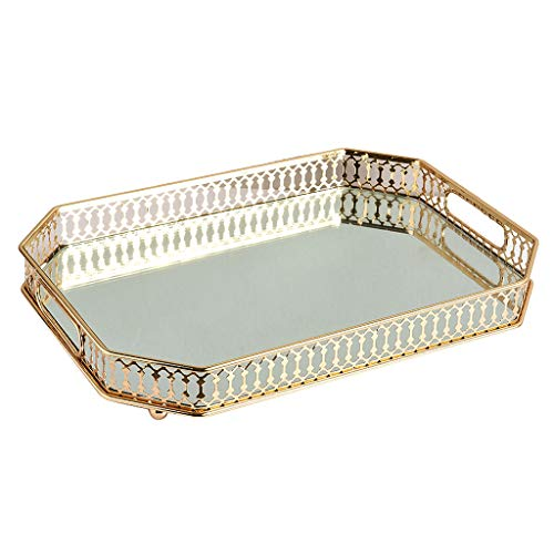 Fenteer Spiegeltablett Gold, Gold Tablett Spiegel Metall Tablett Verspiegelt Platte Verspiegelt Deko Tablett Rechteckig Dekotablett für Waschtisch, Kommode, Badezimme