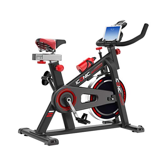 ICONIC Sport Exercise Bike - Indoor Stationary Cardio Cycling Bike - 30 lb Flywheel - LCD Display - Spring Dampening Seat Cushion - Transport Wheels (Black/Red)
