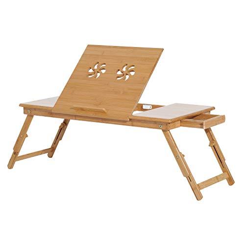 HOMCOM Mesa de Ordenador Portátil Bambú Bandeja de Cama Desayuno Plegable Reclinable Altura Ajustable Soporte Escritorio de regazo 1 Cajón 72x35x22-30cm