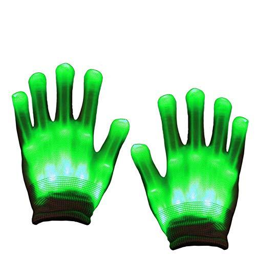 Aoweika LED Handschuhe Bunte Licht Handschuhe Leuchtende Handschuhe Halloween Weihnacht Handschuhe Beleuchtung Handschuhe für Kinder(8-12+Yrs)