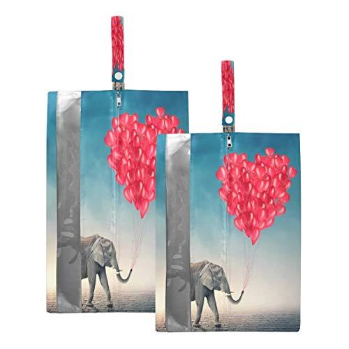 Mnsruu Bolsa organizadora de zapatos con forma de corazón de elefante para hombre y mujer, 2 unidades (tamaño estándar: 23 x 38 cm, tamaño XL: 23 x 43 cm)