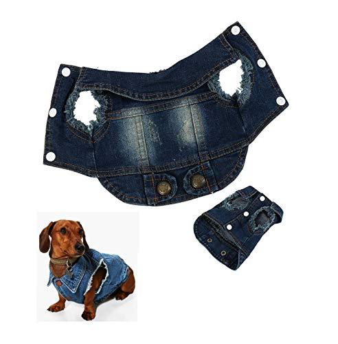 Ducomi Fonzie Jeans Vest voor honden, denim, voor kleine en middelgrote honden, vintage look en verbruik, verkrijgbaar in XS tot XXL, XXL, Donkerblauw