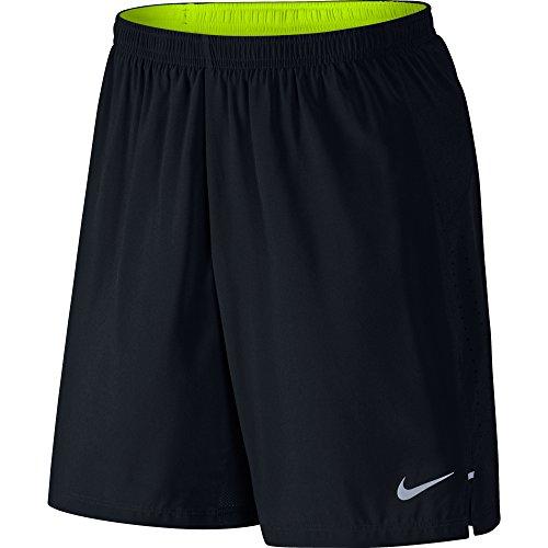 Nike Short Homme Phenom 2–en - 1 (18 cm) S Noir - Noir/Jaune Fluo/argenté/éléments réfléchissants