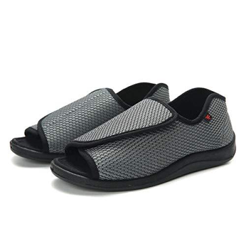 B/H Ajustable de Velcro Zapatillas Ortopédica,Zapatos de rehabilitación para pies hinchados, Zapatos para pie diabético-41_Gray,Zapatos ortopédicos Ajustables