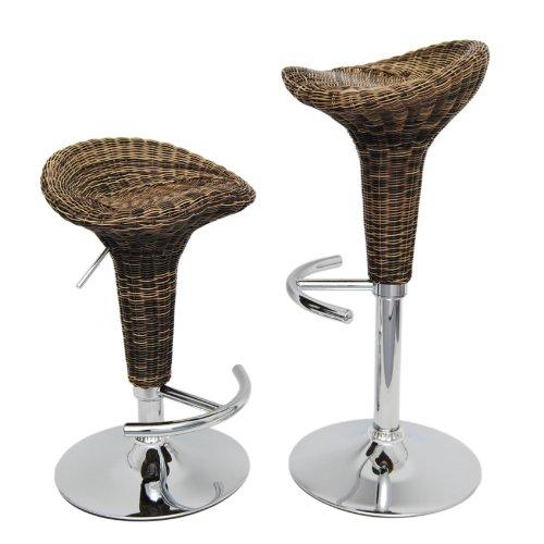 ts-ideen - Taburete de Bar Giratorio (Mimbre, con reposapiés), diseño de ratán, Color Cromo y...