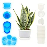 DeElf 10 Sets 6 Inch Plastic Plant Pot Round Drainage Flower Pot with Saucer Tray, Glow in The Dark Bulk Planters for Indoor Outdoor Flowers, Succulents, Orchids, Herbs, Cactus, White, Glow Blue