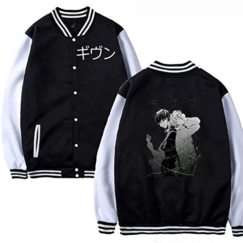 CAFINI Japanische Given Cartoon-Druck Unisex-Jacke Anime YAOI Baseball-Jacke Student Jugend KPOP Mode Streetwear Sweatshirt schwarz (XS-4XL)