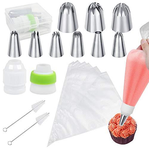 XYGK Decorazione Torta Beccucci, Set di 24 Decorazione Torte per Pasticceria Professionali,3 bocchette Grandi,6 bocchette Medi,2 convertitori,10 Sacchetti per Pasticceria,2 spazzole Ombrello