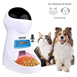 Iseebiz Automatic Pet Feeder, Cat Dog Food Dispenser 3 Liter Hopper with Voice Recorder, Timer Programmable, Portion Control, Food Dispense Remind, IR Detect, 4 Meals a Day for Medium Small Cats Dogs