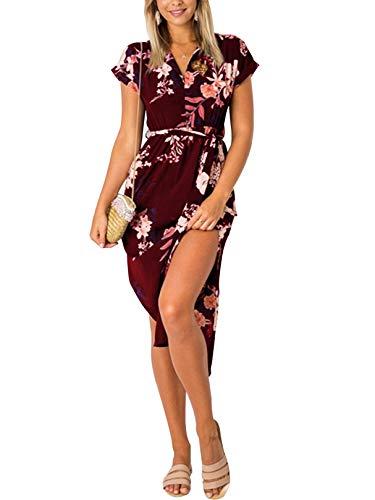 YOINS Sommerkleid Damen Lang V-Ausschnitt Maxikleider für Damen Kleider Strandkleid Strandmode Blumen-Rotwein S