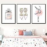 cuadros decoraciónBallet Girl Body Falda rosa Tacones altos Perfume Arte de la pared Pintura en lienzo Carteles e impresiones nórdicos de pared de la habitación de los niños   40x60cmx3 Sin marco