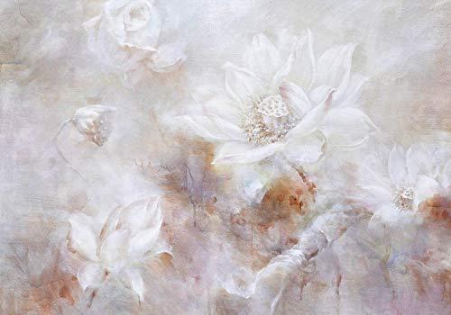 wandmotiv24 Fototapete weiss Blumen Betonwand alt bunt XL 350 x 245 cm - 7 Teile Fototapeten, Wandbild, Motivtapeten, Vlies-Tapeten Wand Aquarellfarben M4675