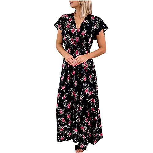 AMhomely Women Floral Dress Boho V-Neck Wrap Baggy Dresses Short Sleeve Summer Casual Midi Beach Long Dress Ladies Maxi Dresses V Neck Print Bohemian Dress Short Sleeve Midi Dress Beach Dresses