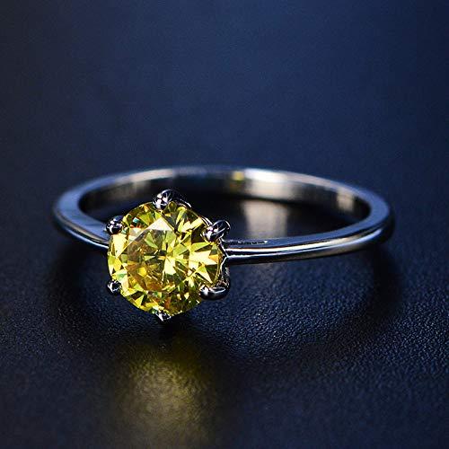 DGSDFGAH Anillo Mujer Anillo De Dedo De Diamantes De Imitación Redondo Amarillo Hombres Y Mujeres, Boda Y Compromiso Exquisito, 9