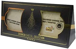 Spanish Cheese | Bi-Pack Spanish Cheese Selection | Manchego 3mo. & Goat Cheese Soaked with Red Wine | 13.4oz/380grs | Pac...