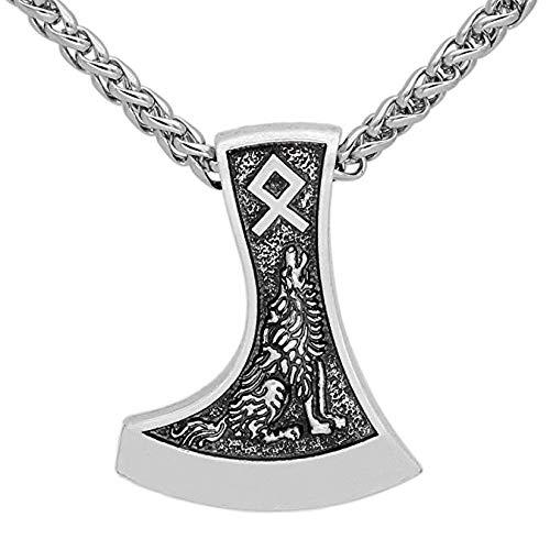 HLARK Viking necklace Amulet Axe Rune Wolf Raven Pendant pagan Men's jewelry